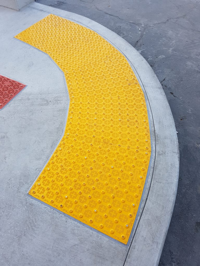 Installed Federal Yellow Color Radius Curve Tile