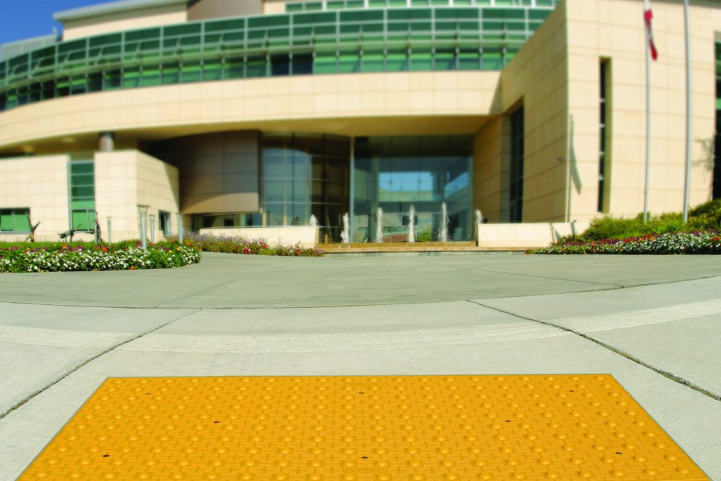 Cast in Place Detectable Tile installed in front of Museum